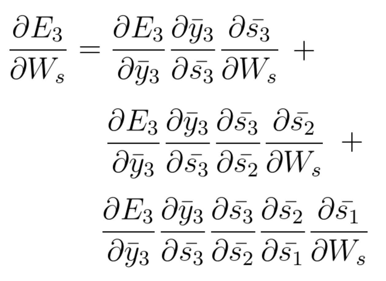 complete equation | Problems Recurrent neural networks