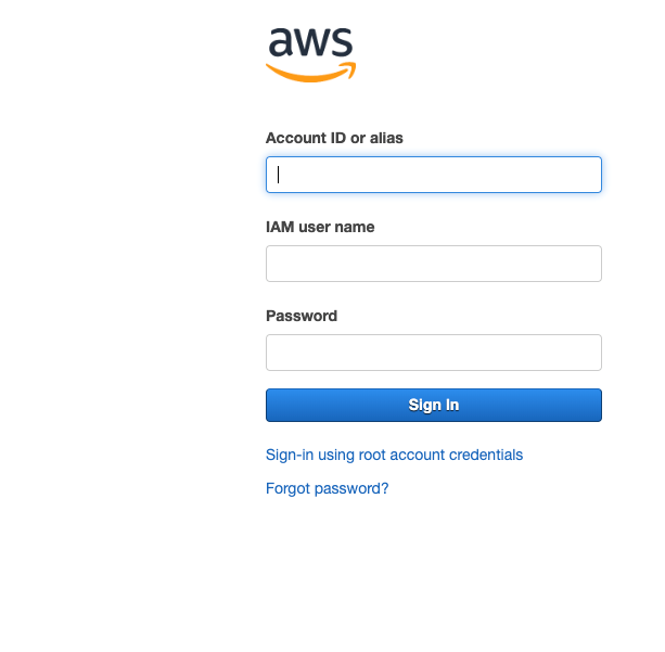 AWS sign in screen