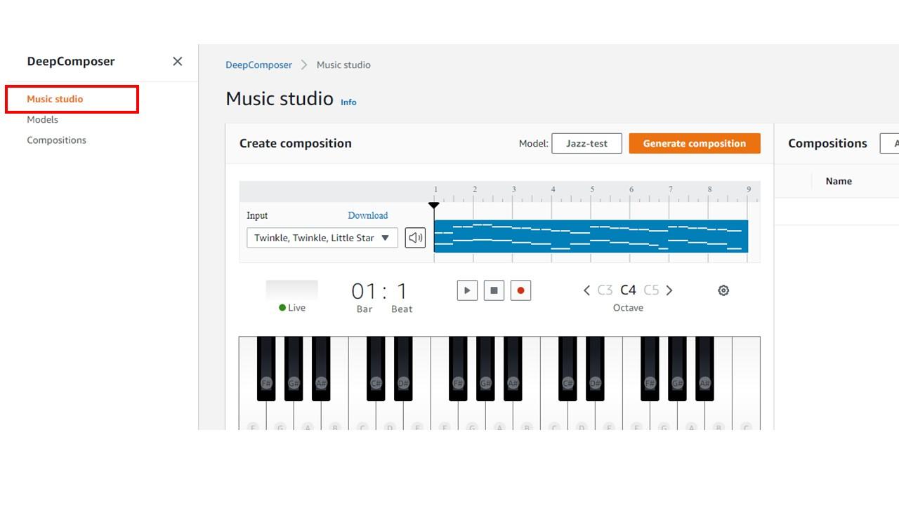 AWS DeepComposer Music Studio
